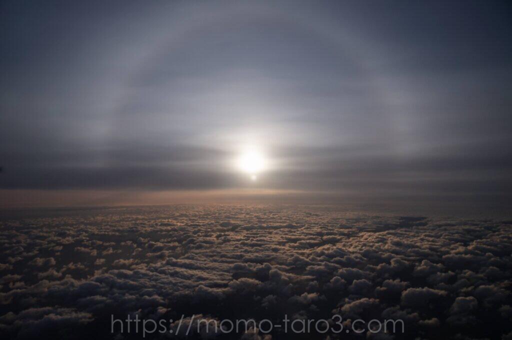 雲海とハロの写真
